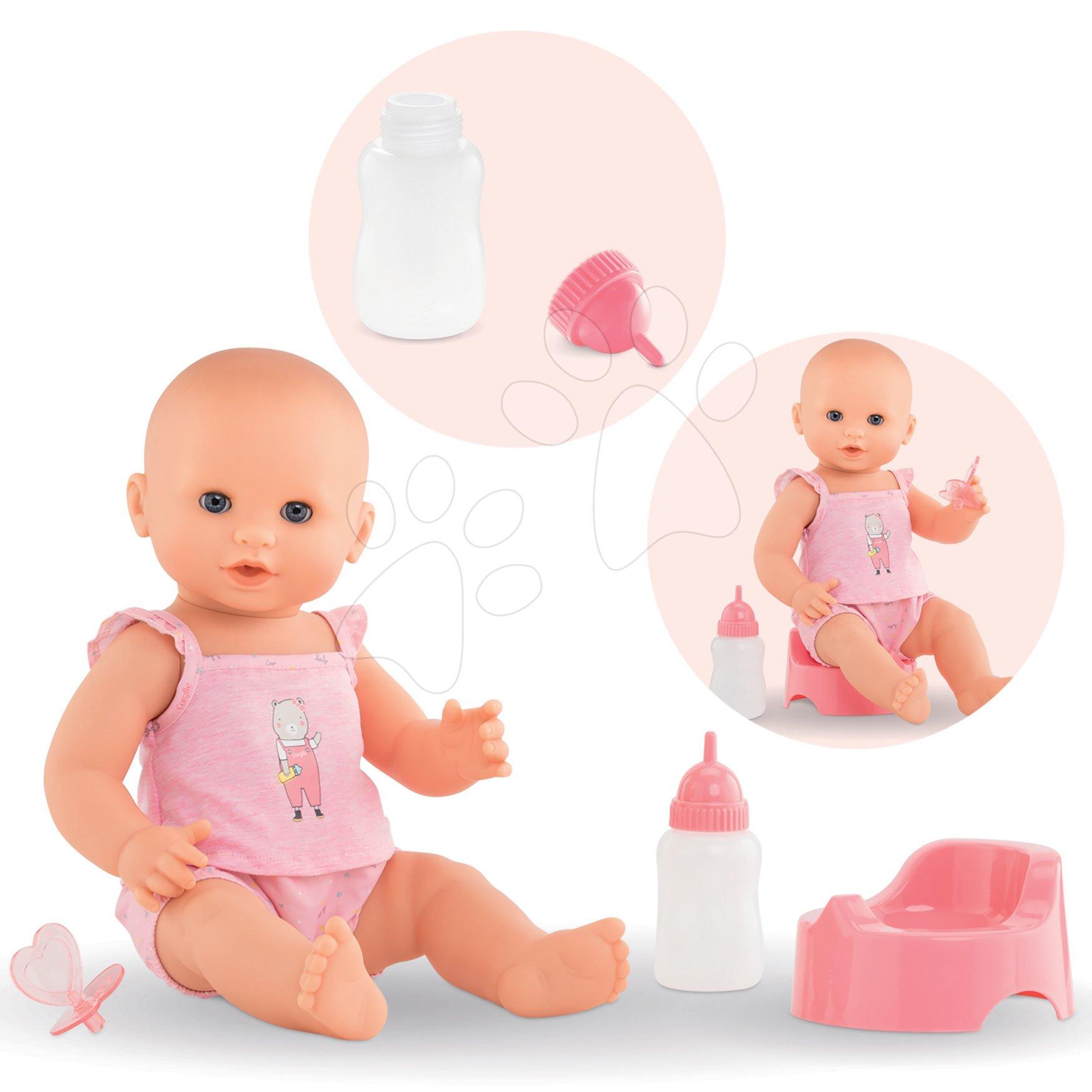 Bábiky od 24 mesiacov - Bábika Emma pije ciká a kúpe sa Mon Grand Poupon Corolle 36 cm s modrými klipkajúcimi očami a 3 doplnky od 24 mes