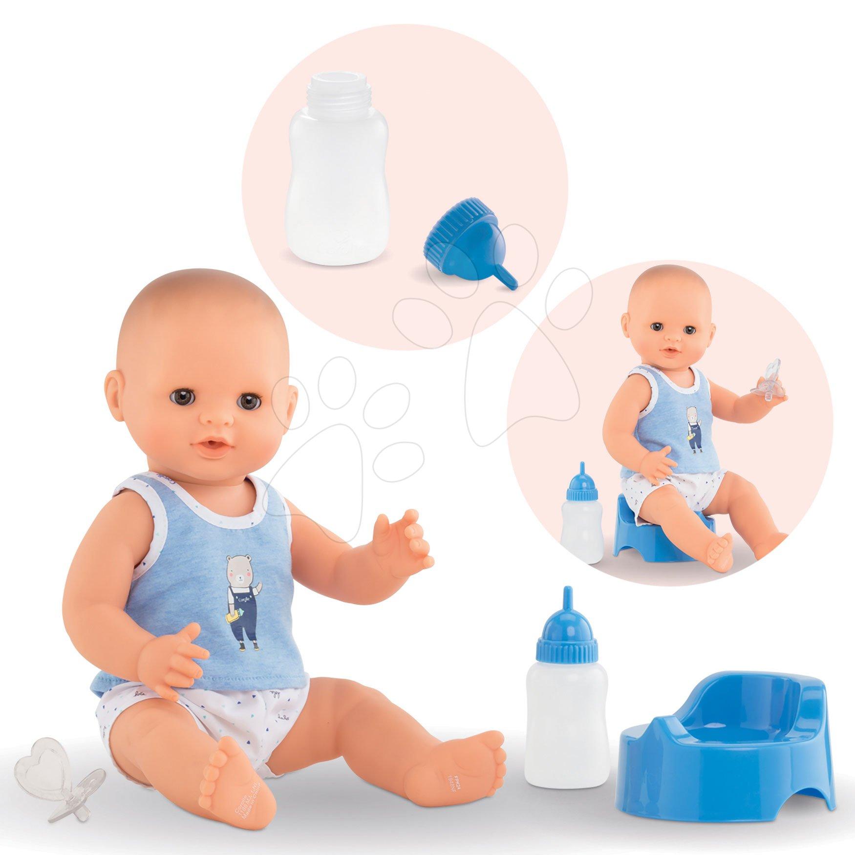 Bábiky od 24 mesiacov - Bábika Paul pije ciká a kúpe sa Mon Grand Poupon Corolle 36 cm s hnedými klipkajúcimi očami a 3 doplnky od 24 mes