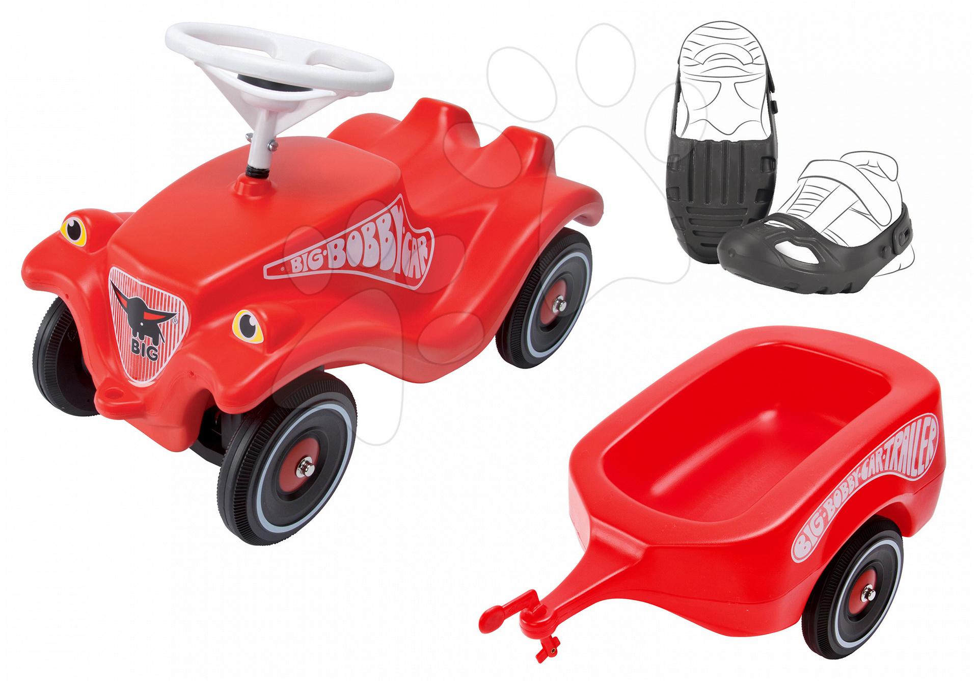 BIG set odrážadlo Bobby Classic, prívesný vozík a ochranné návleky 01303-14