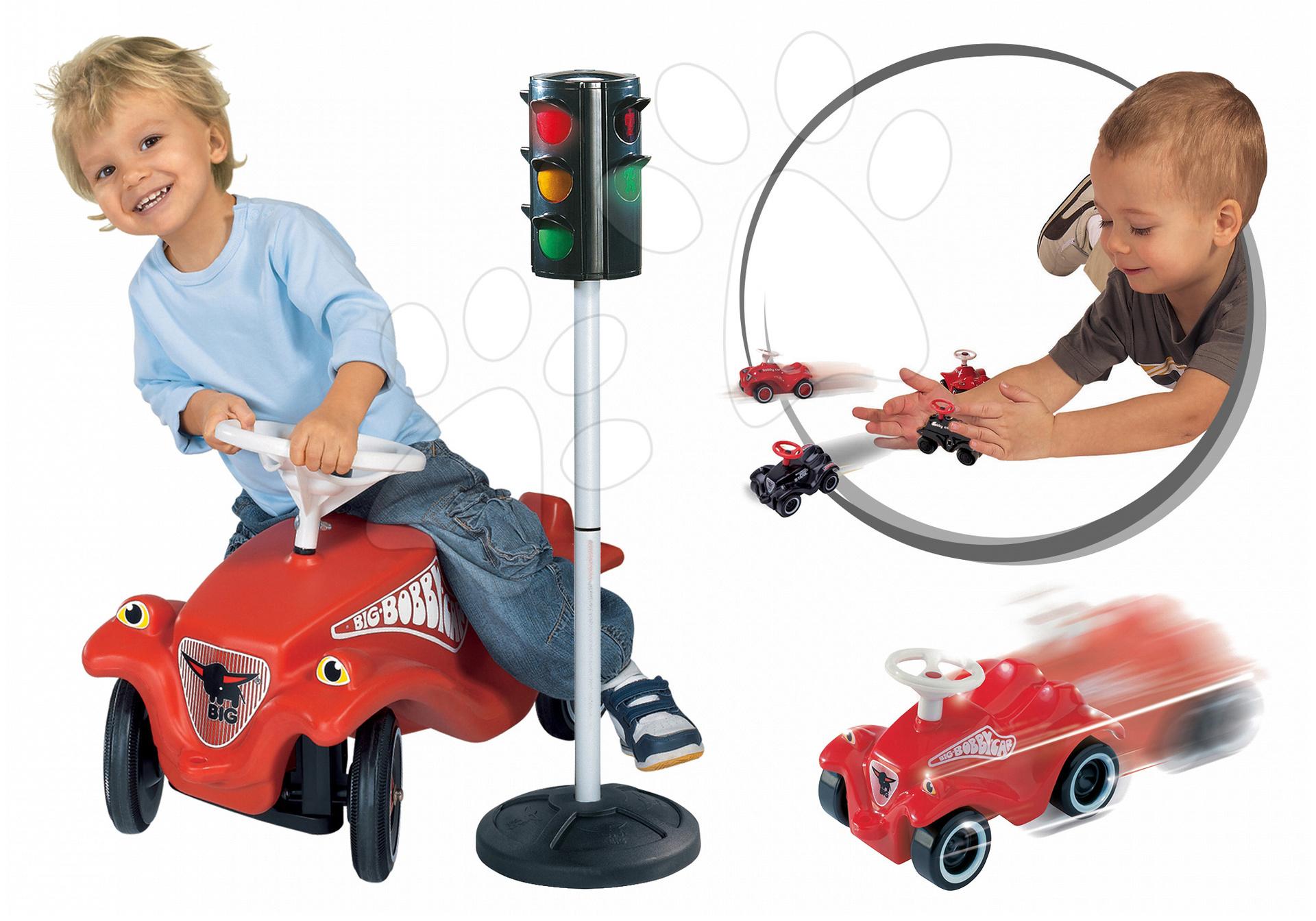 Odrážadlá sety - Set odrážadlo Bobby Classic BIG s klaksónom červené, automatický semafor a autíčko Mini Bobby na naťahovanie od 12 mes