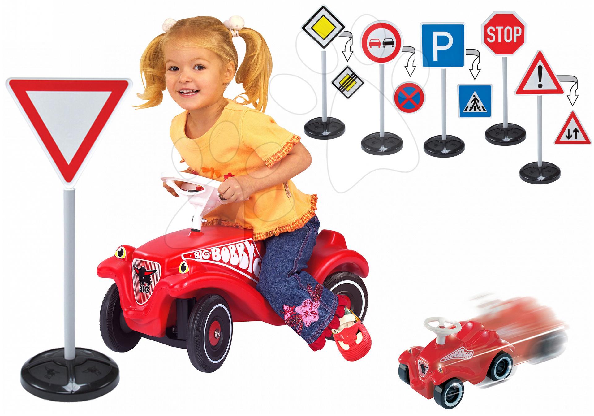 BIG detské odrážadlo Bobby Classic s dopravnými značkami a autíčko Mini Bobby 01303-3