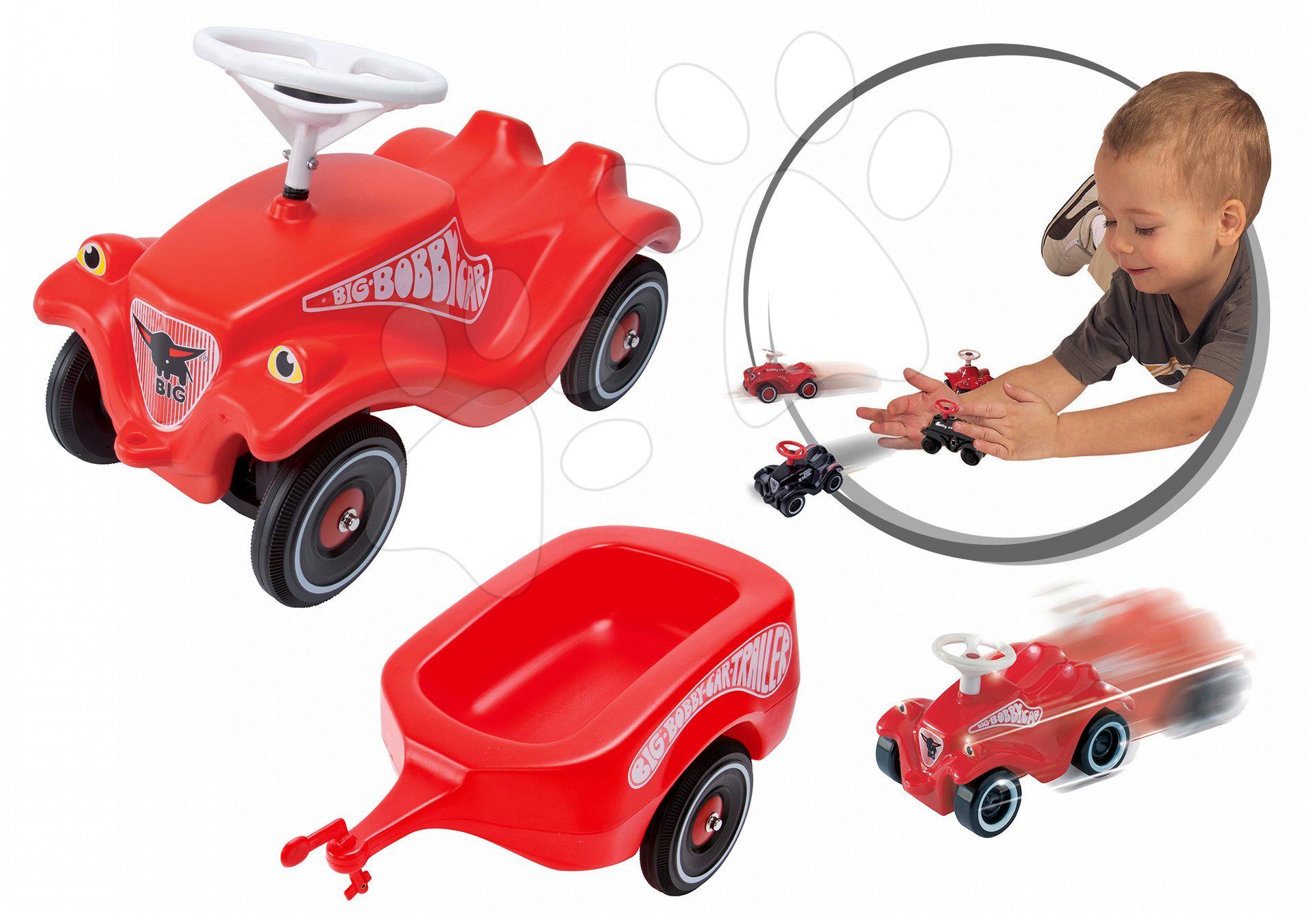 Odrážadlo BIG Bobby Classic s vozíkom a autíčko Mini Bobby 01303-4 červené