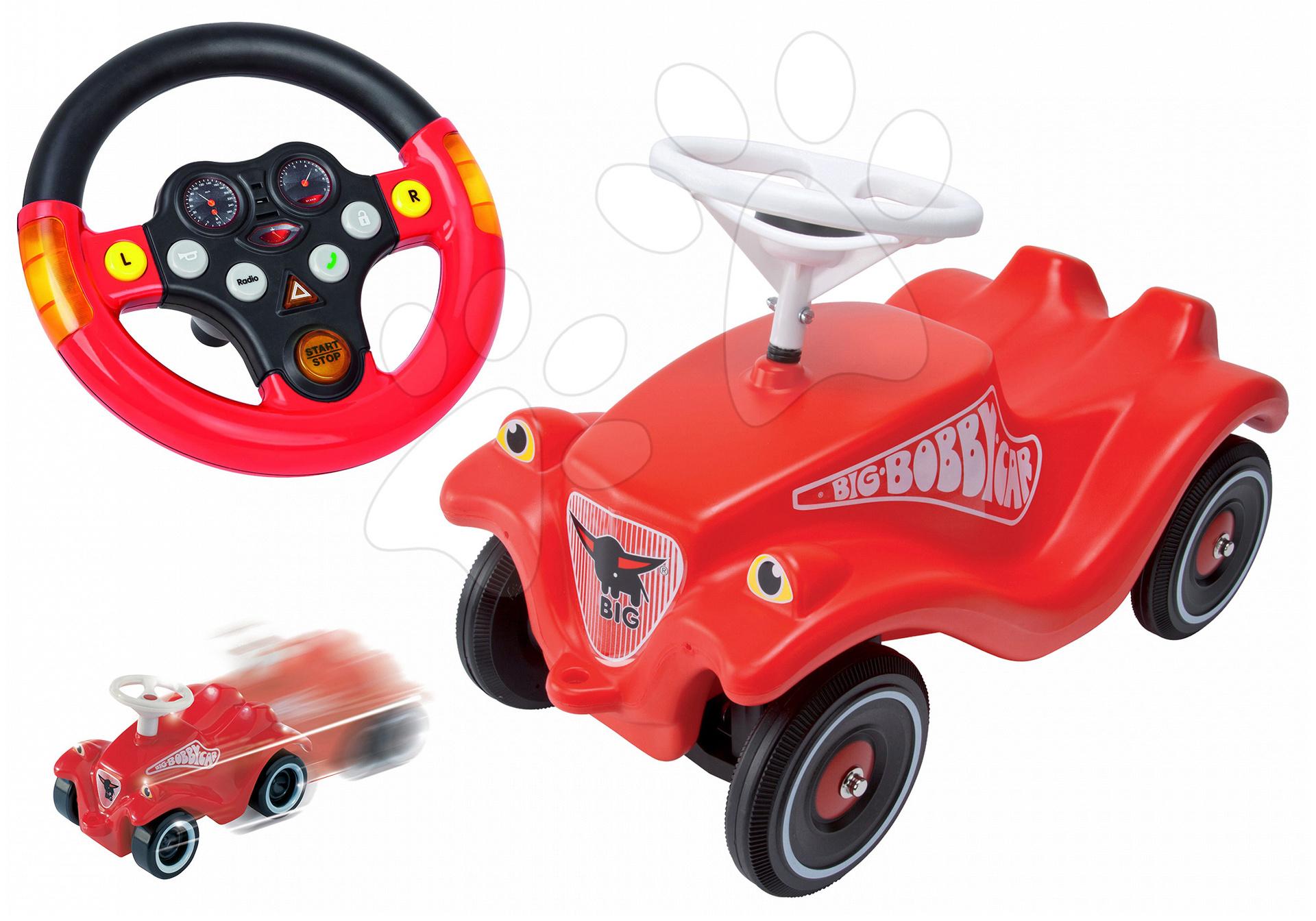 Odrážadlá sety - Set odrážadlo Bobby Classic BIG s klaksónom červené, interaktívny volant a autíčko Mini Bobby na naťahovanie od 12 mes