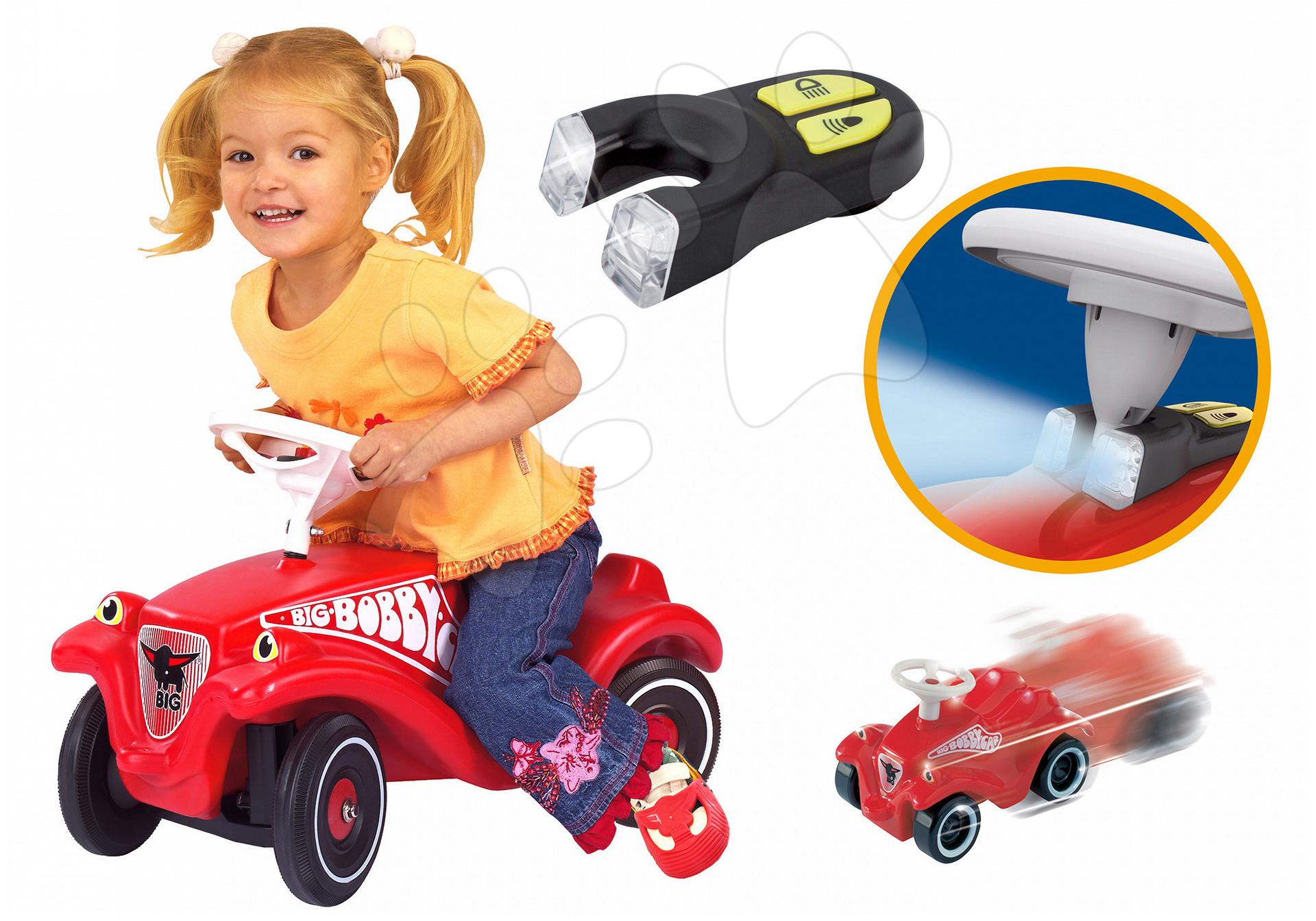 Odrážadlá sety - Set odrážadlo Bobby Classic BIG s klaksónom červené so svetlami na batérie a autíčko Mini Bobby na naťahovanie od 12 mes
