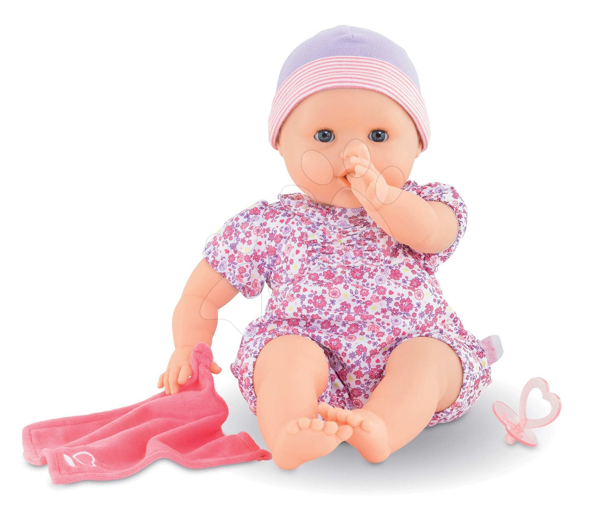 Bábiky od 24 mesiacov - Bábika cmúľajúca prst Emilie Sucks Her Thumb Mon Grand Poupon Corolle 36 cm s modrými klipkajúcimi očami od 24 mes
