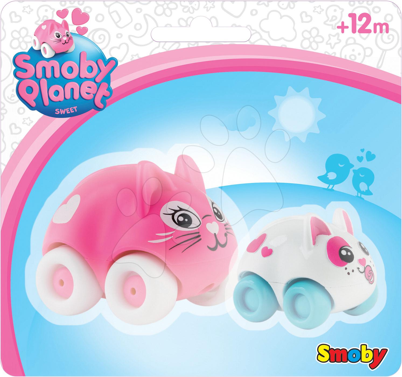 Garáže - Súprava 2 zvieratiek na kolieskach Sweet Planet Smoby mamička a bábätko na karte 7 cm od 12 mes