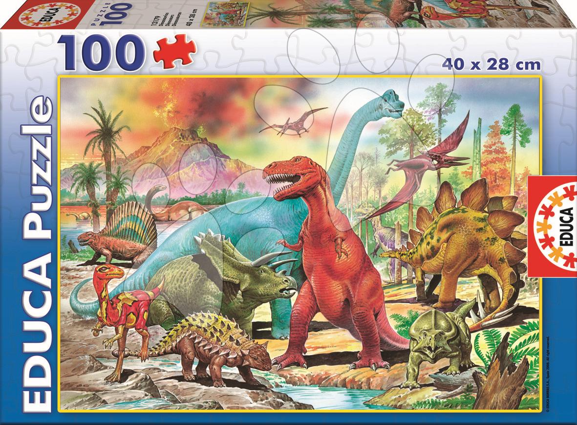 Detské puzzle od 100-300 dielov - Puzzle Junior Dinosaurus Educa 100 dielov od 5 rokov