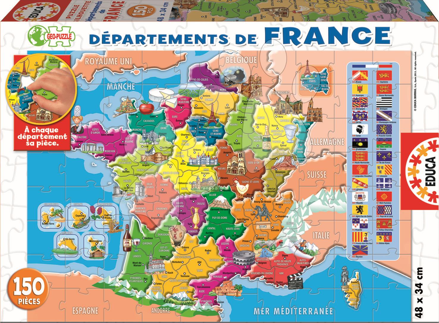 Puzzle Junior Rozčlenění Francie Educa 150 dílů od 6 let