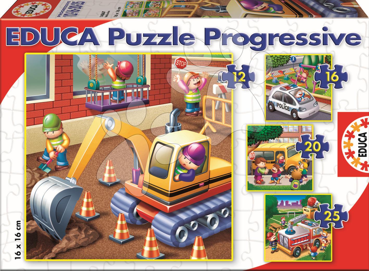 Puzzle Auta Educa 25-20-16-12 dílů