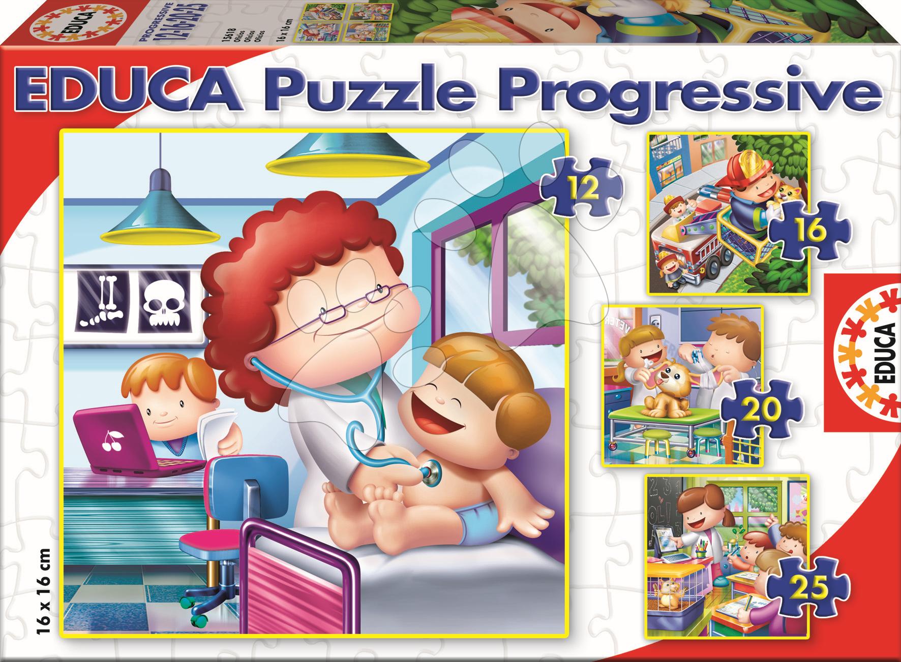 Progresívne detské puzzle - Puzzle Povolania Educa 25-20-16-12 dielov od 24 mes