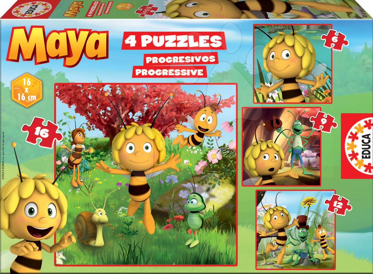 Puzzle Progressive Včelka Mája Educa 4obrázkové 16, 12, 9, 6 dílků od 24 měsíců