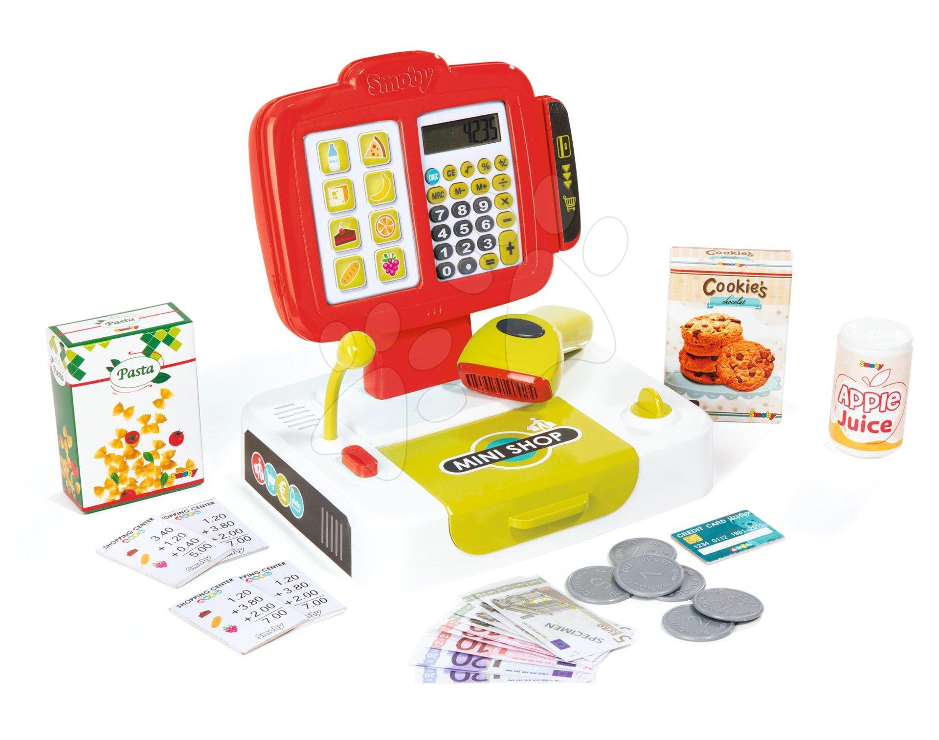 Elektronická pokladna klávesnicová Mini Shop Smoby tyrkysová se čtečkou kódů a 27 doplňky