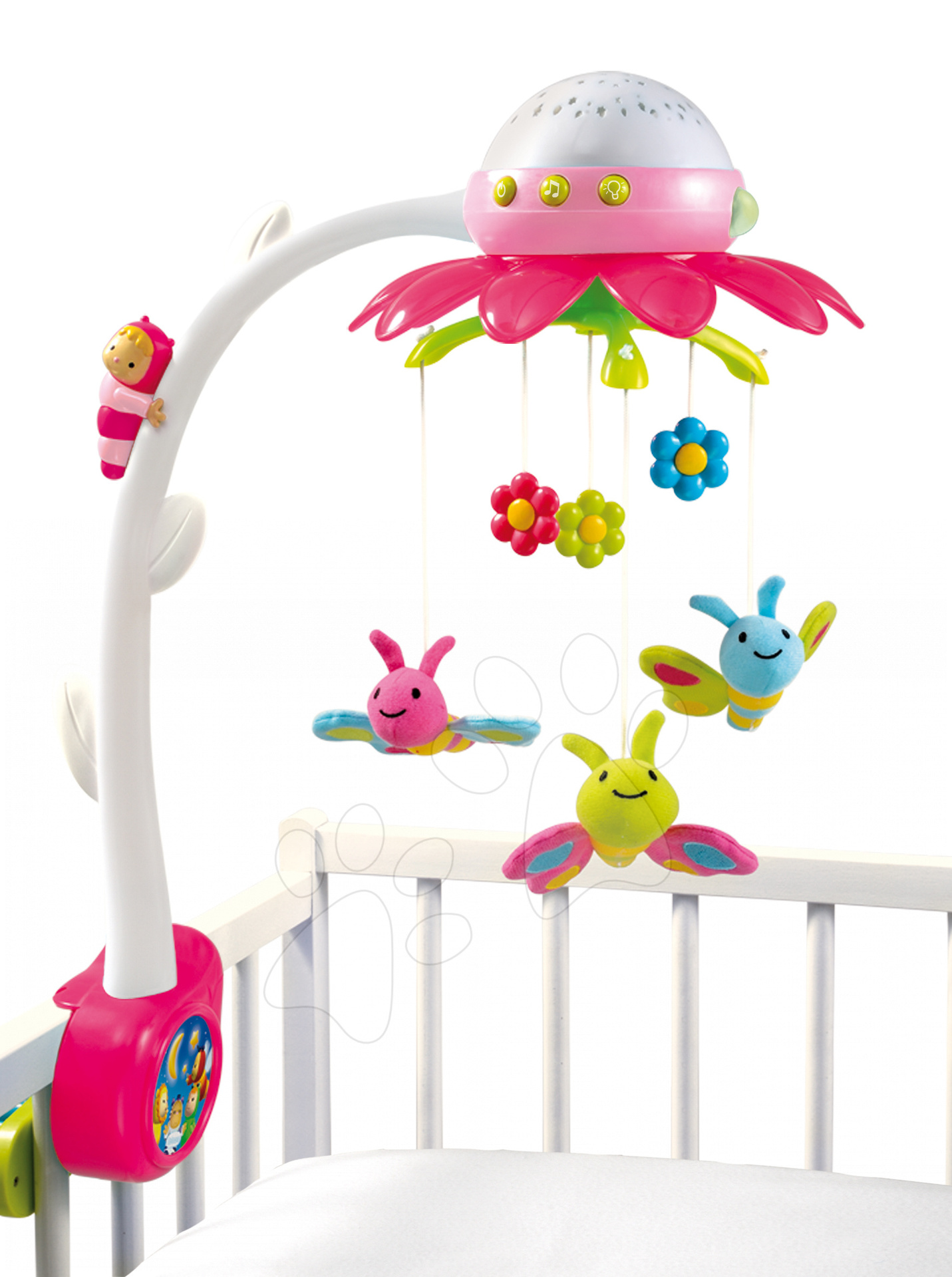 SMOBY 211408 ružový kolotoč nad postieľku s hudbou a svetlom Cotoons pre najmenšie deti