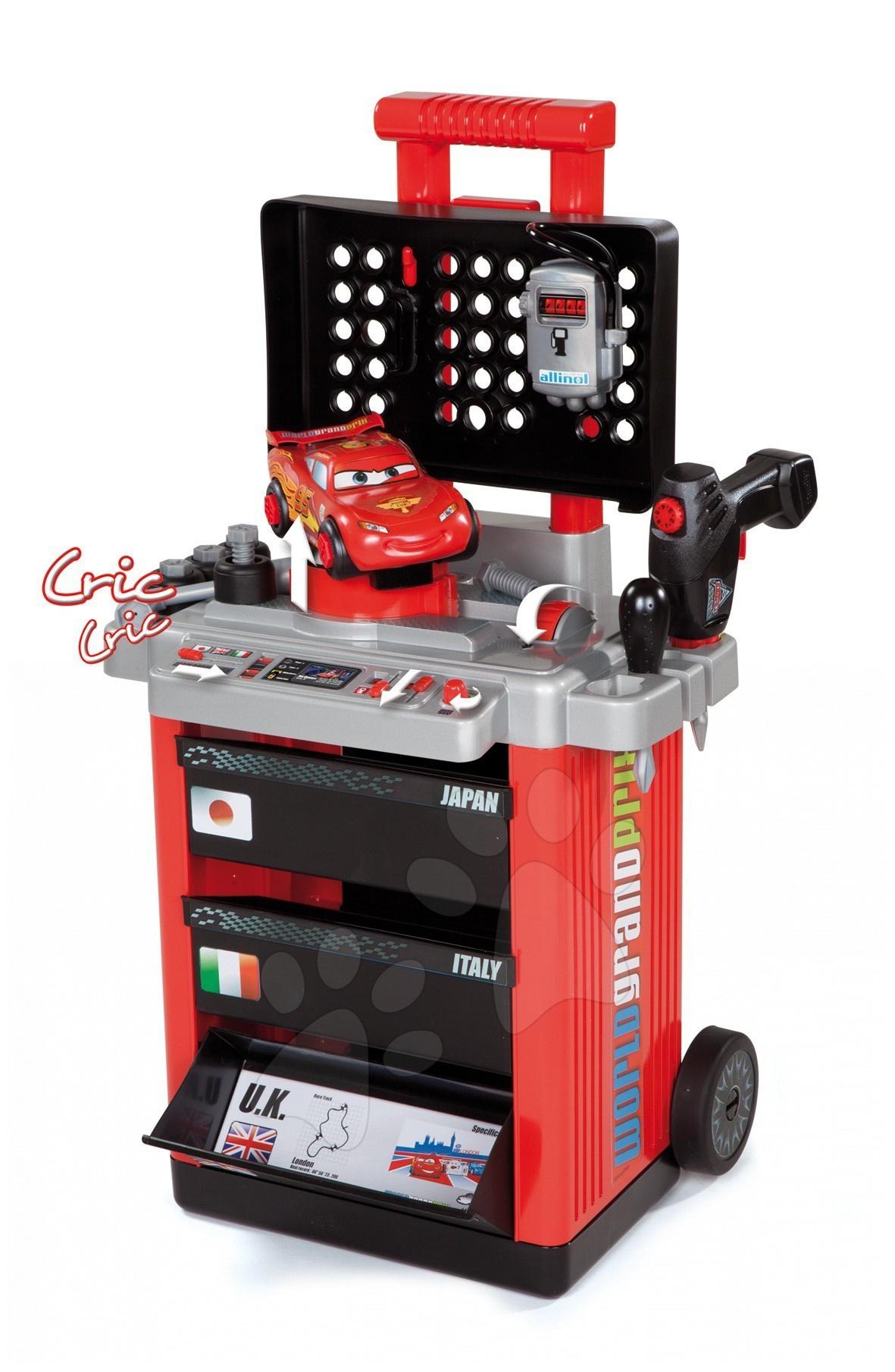 Dětský pracovní vozík Auta 2 Pit Stop Smoby s mechanickou vrtačkou, autem McQueen a 25 doplňky