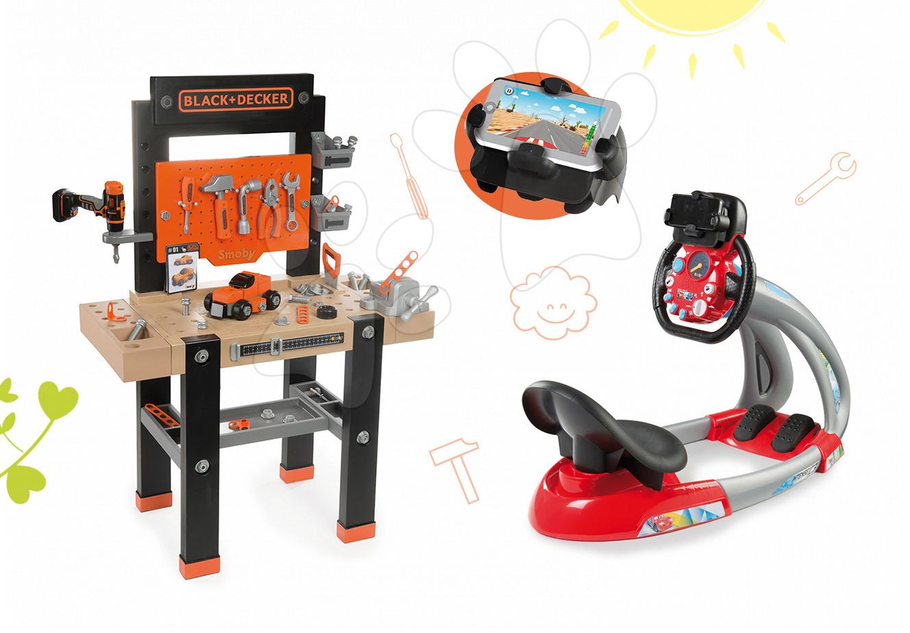Detská dielňa sety - Set pracovná dielňa Black+Decker Smoby s vŕtačkou a elektronický trenažér V8 Driver
