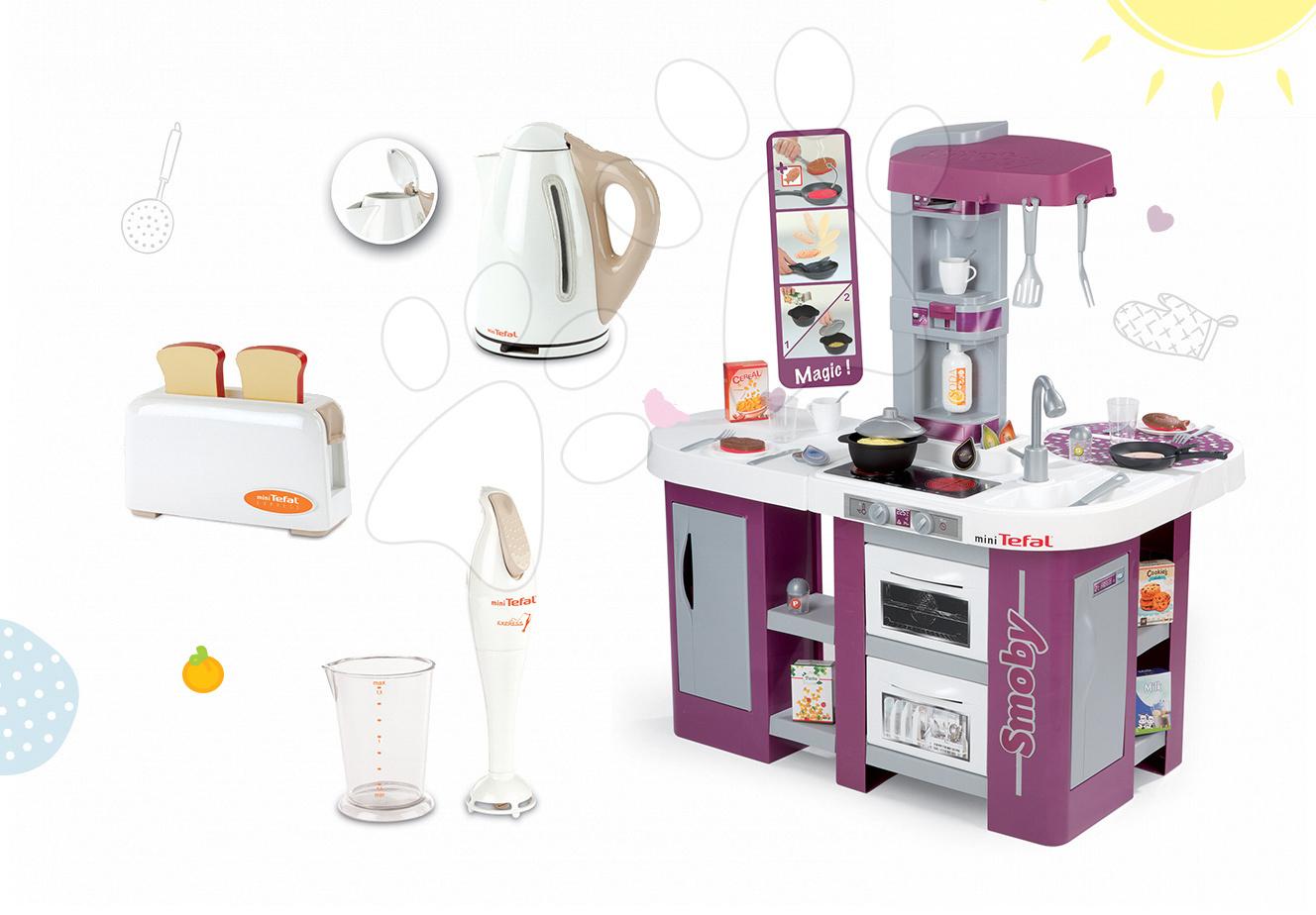 Set dětská kuchyňka Tefal Studio XL Smoby s myčkou nádobí a lednicí a 3 kuchyňské spotřebiče