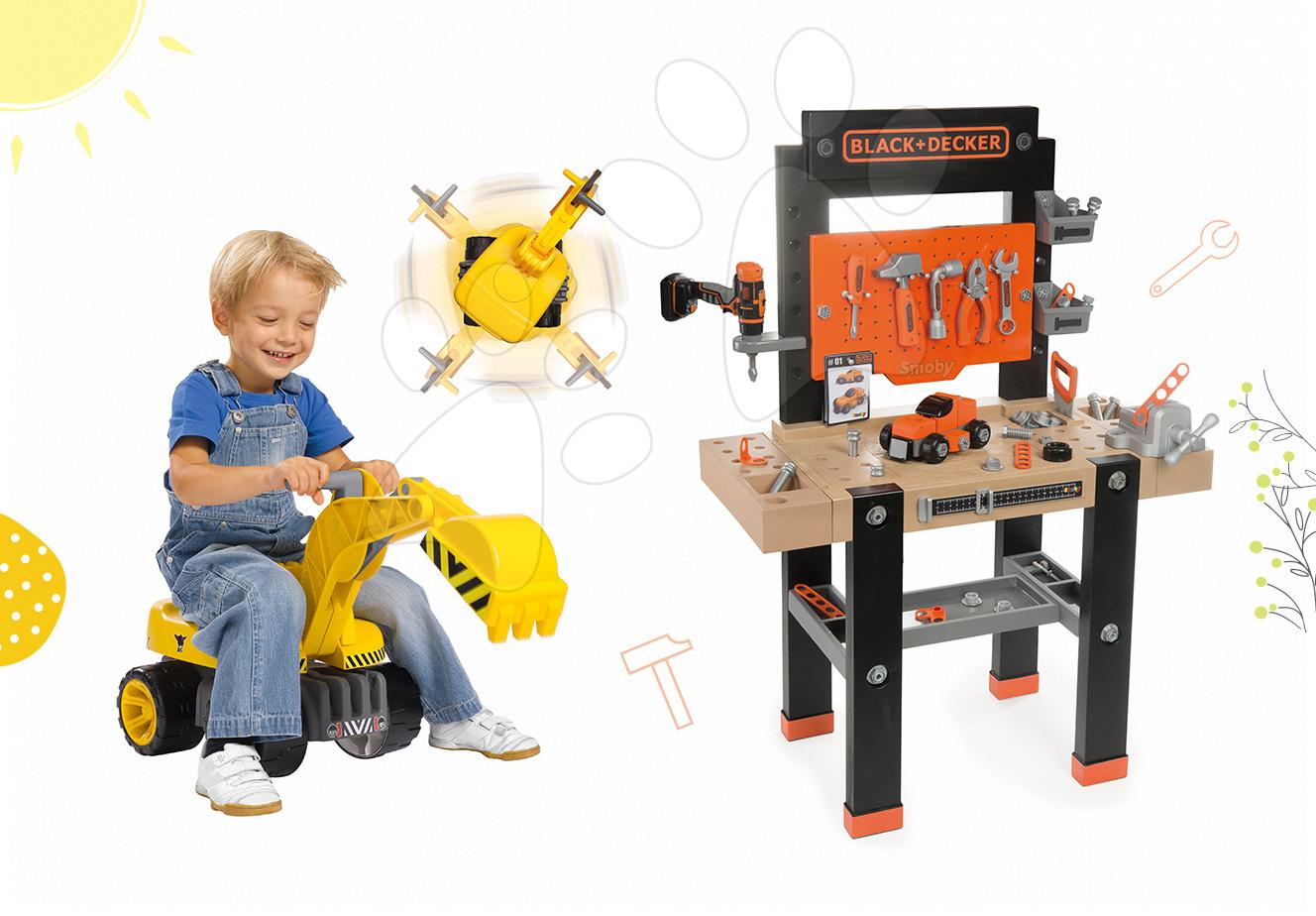 Detská dielňa sety - Set dielňa Black+Decker Smoby s vŕtačkou a bager Maxi Power so sedadlom