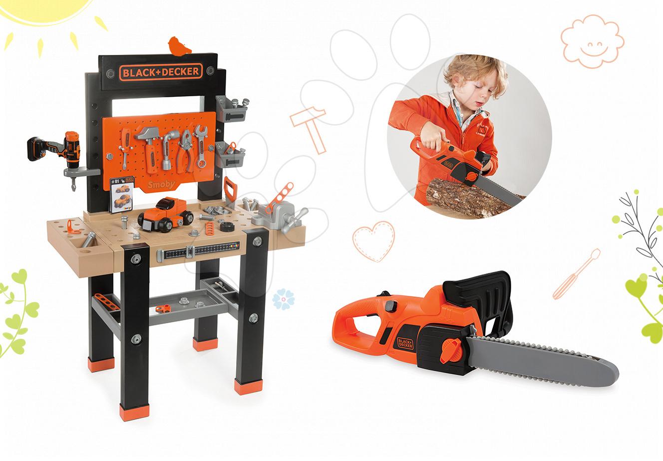 Set pracovní dílna pro děti Black+Decker Smoby s vrtačkou a elektronická motorová pila
