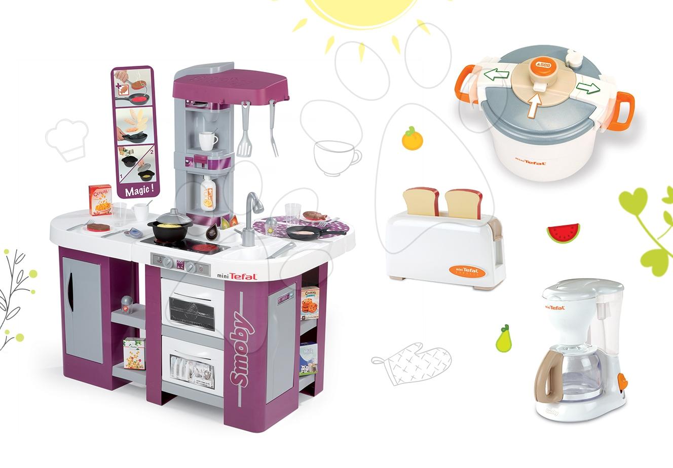 Set kuchyňka pro děti Tefal Studio XL Smoby s myčkou nádobí a lednicí a souprava 3 spotřebičů Tefal