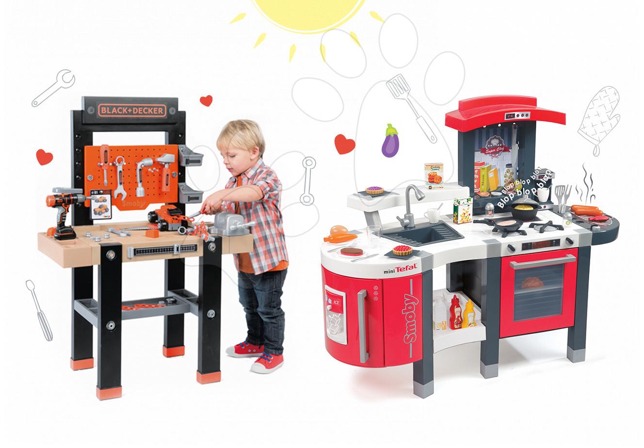 Set dětská kuchyňka Tefal SuperChef Smoby s grilem a kávovarem a pracovní dílna s vrtačkou Black+Decker