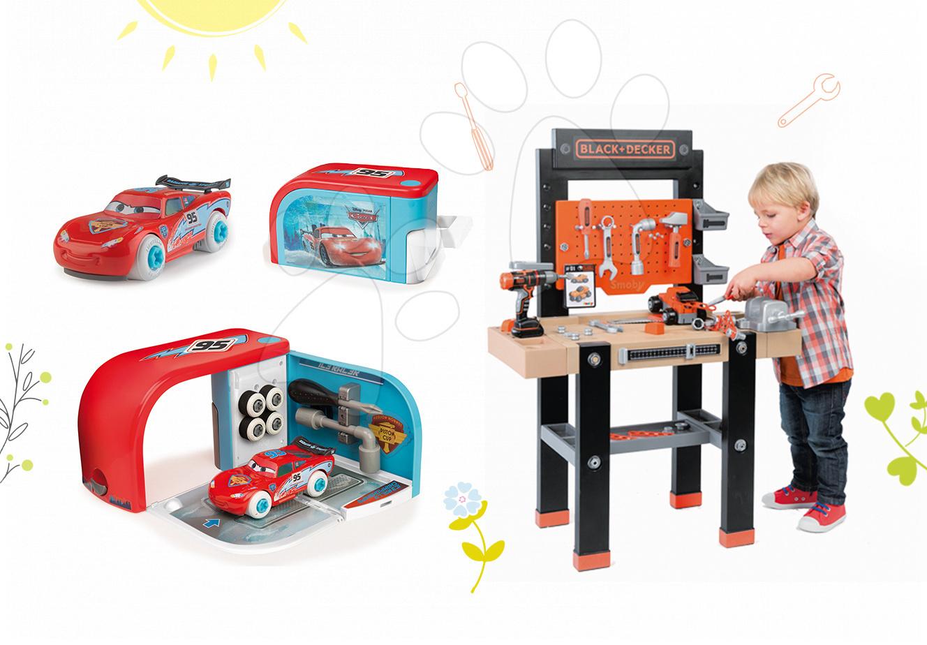 Set dětská pracovní dílna Black+Decker Smoby s vrtačkou a autoservis Auta Ice s autíčkem McQueen v kufříku