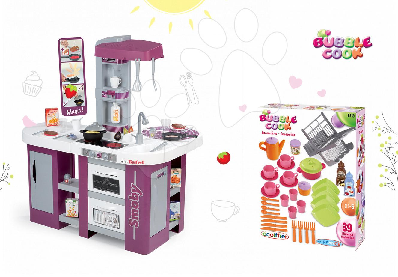 Kuchynky pre deti sety - Set kuchynka Tefal Studio XL Smoby s umývačkou riadu a chladničkou a sušička na riad Bubble Cook