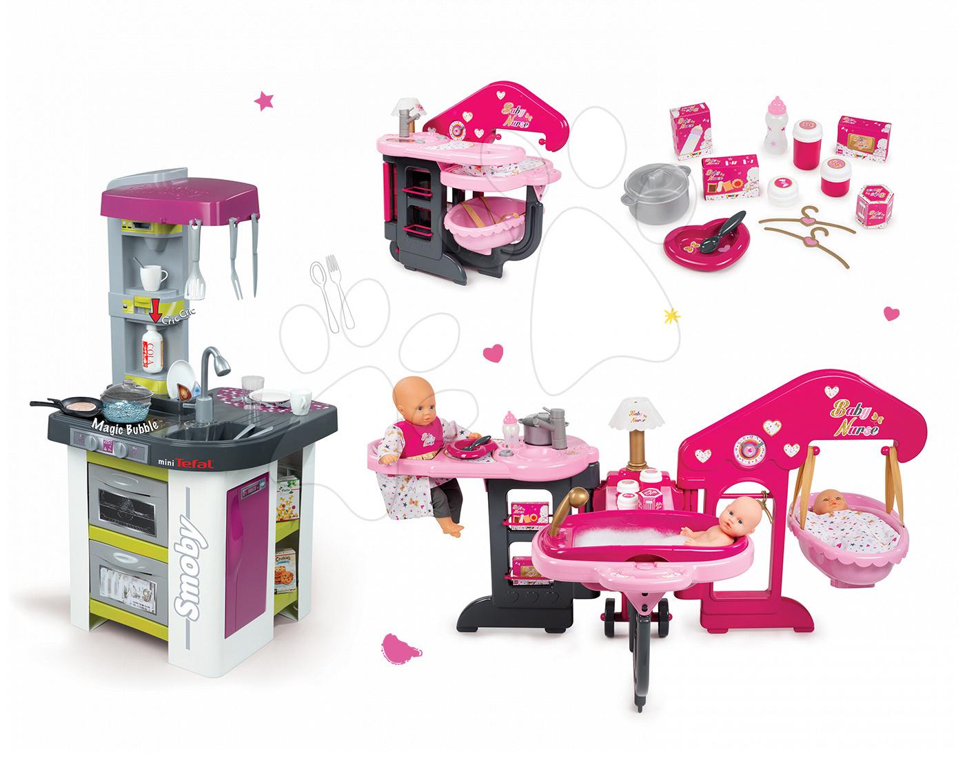 Kuchyňky pro děti sety - Set kuchyňka Tefal Studio Barbecue Smoby s magickým bubláním, domeček pro panenku Baby Nurse Zlatá edice