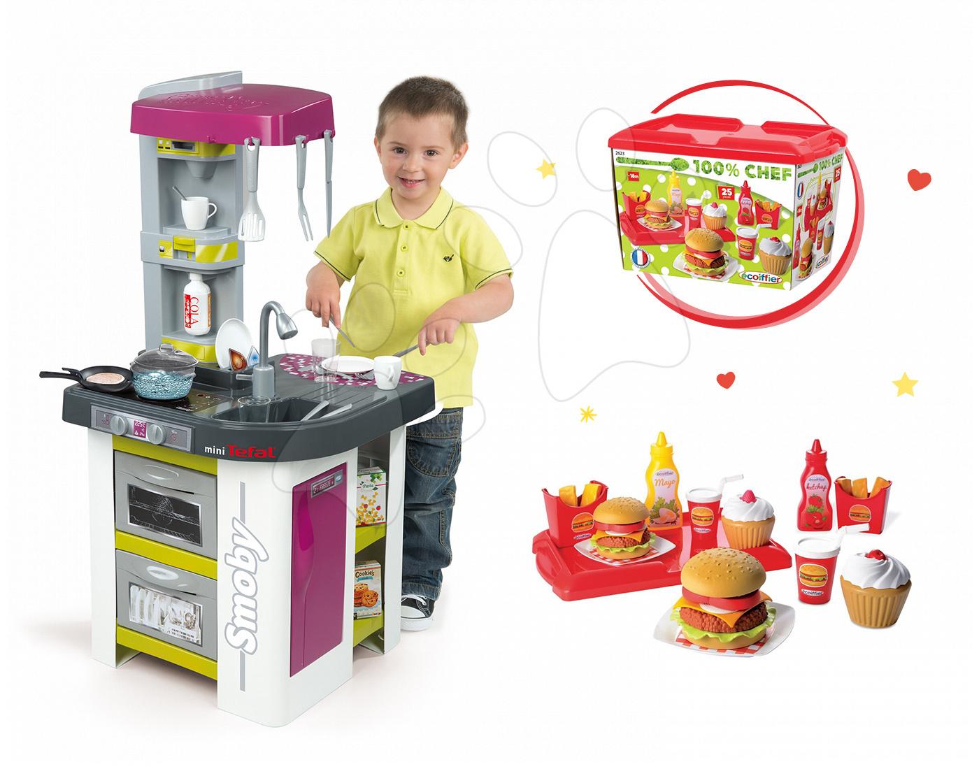 Set kuchyňka Tefal Studio Barbecue Smoby s magickým bubláním a sada hamburgerů
