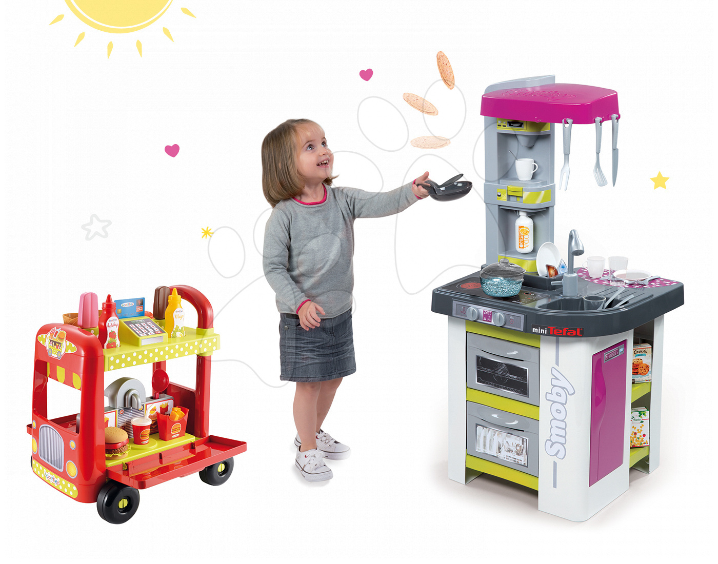 Smoby elektronická kuchyňka Tefal Studio BBQ a Écoiffier zmrzlinářský vozík 311027-21