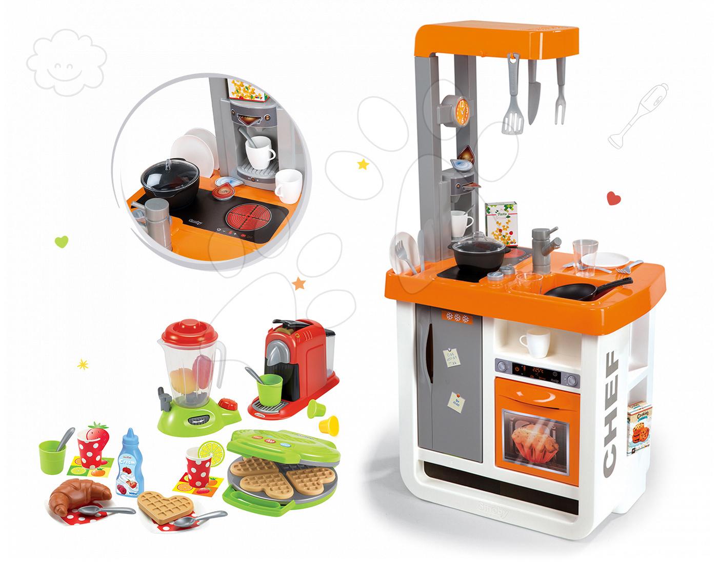 Set kuchyňka Bon Appétit Chef Smoby s lednicí, kávovarem, vaflovač s mixérem a kávovarem