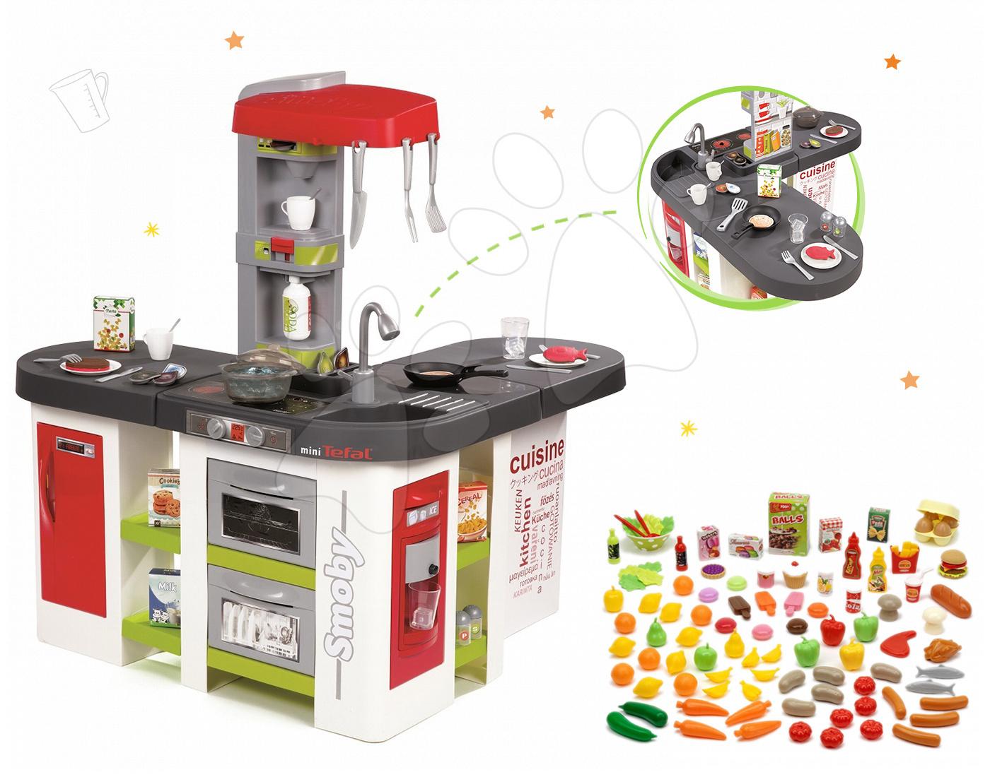 Set kuchyňka Tefal Studio XXL Smoby s magickým bubláním a sada potravin 100 kusů