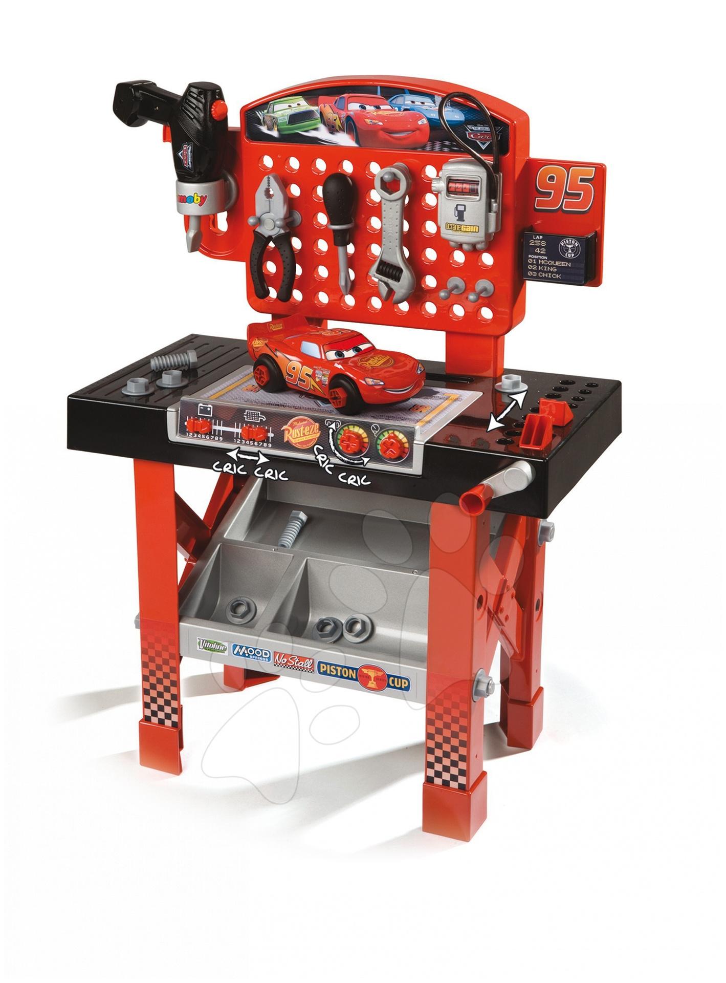 Staré položky - Pracovný stôl Autá Smoby s autíčkom McQueen, mechanickou vŕtačkou a 20 doplnkami