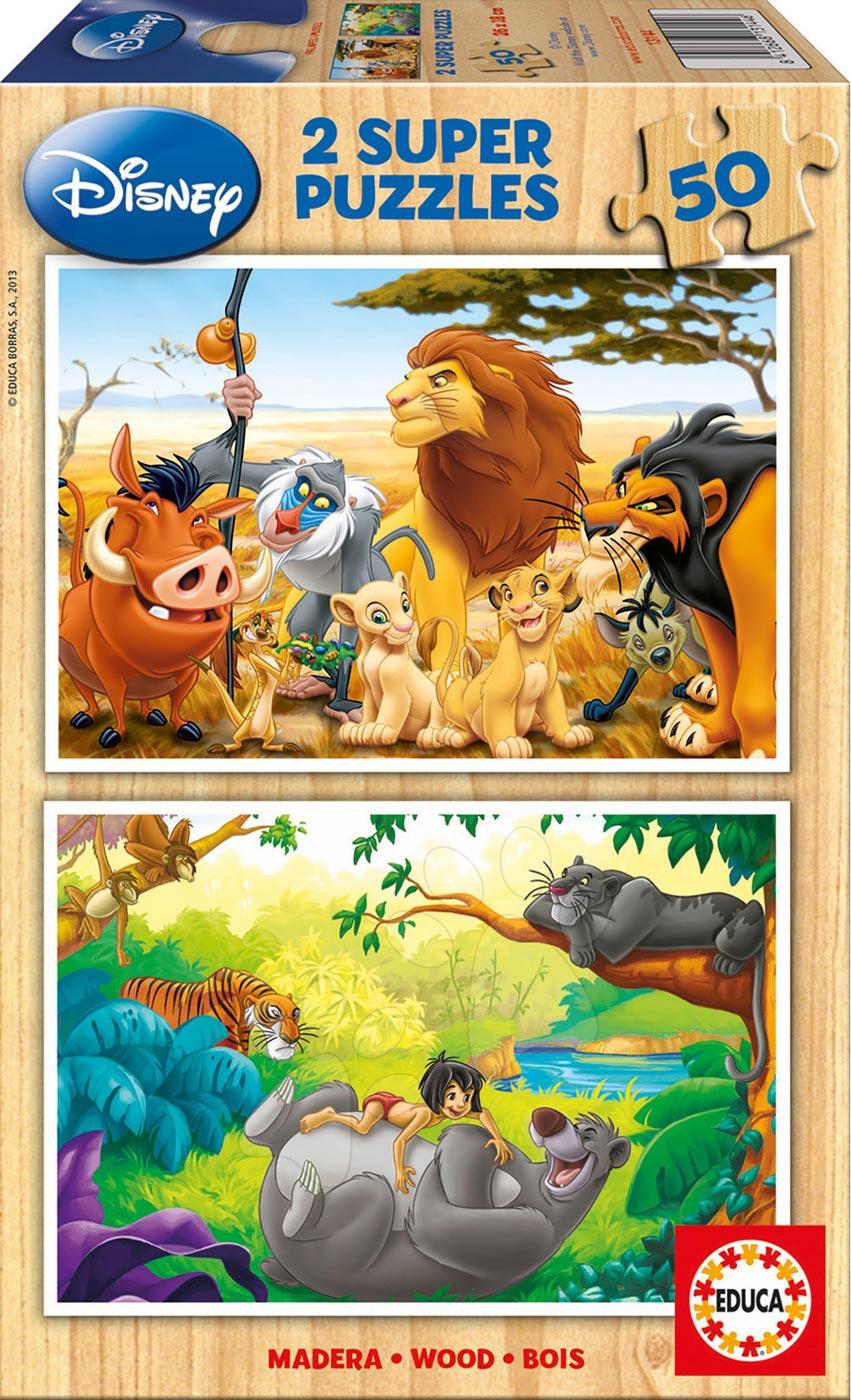Dřevěné puzzle Lví Král a Kniha džunglí Educa 2x50 dílů od 5 let