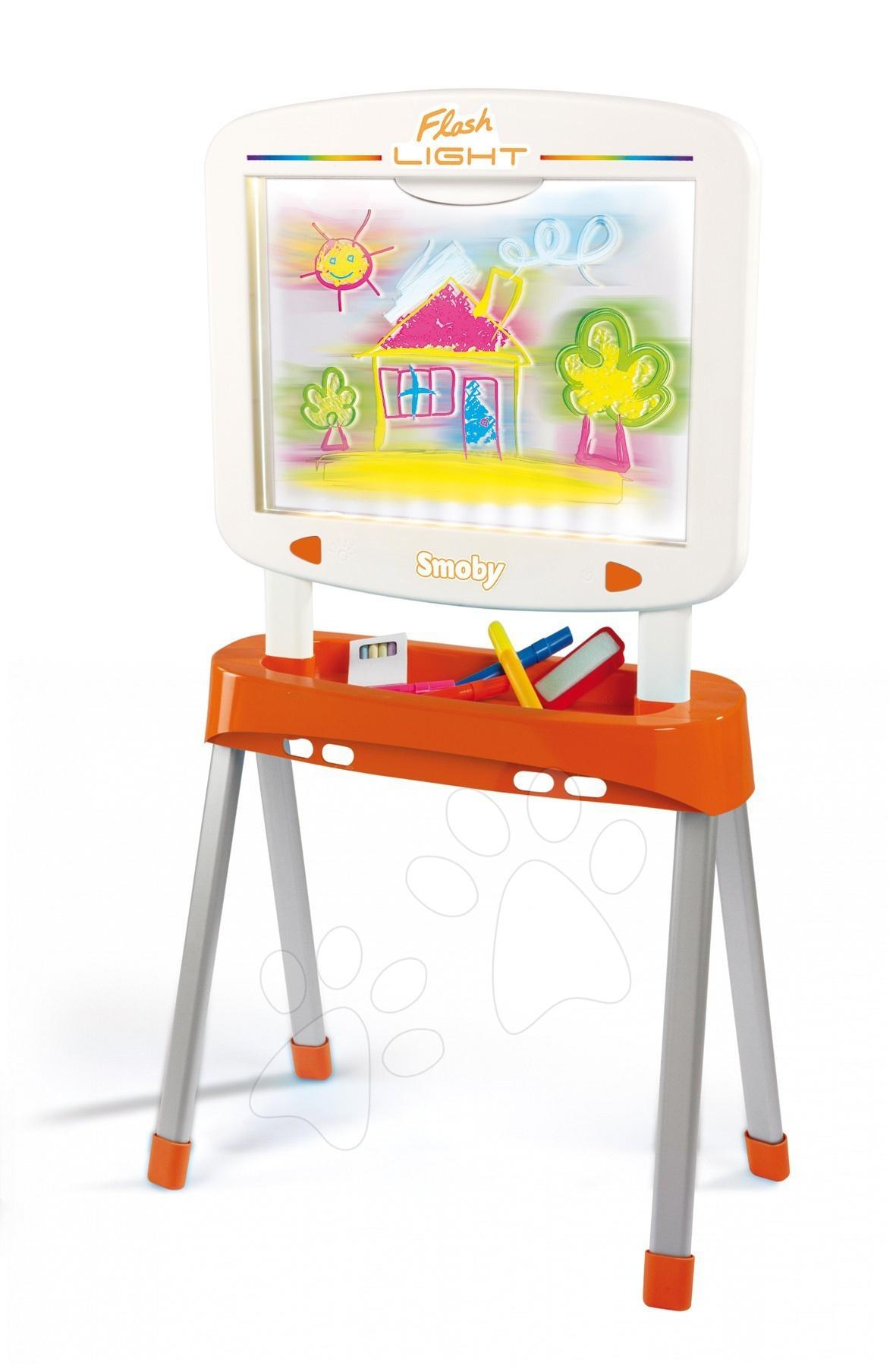 Obojstranná tabuľa Flash Light 6v1 Smoby bielo-oranžová