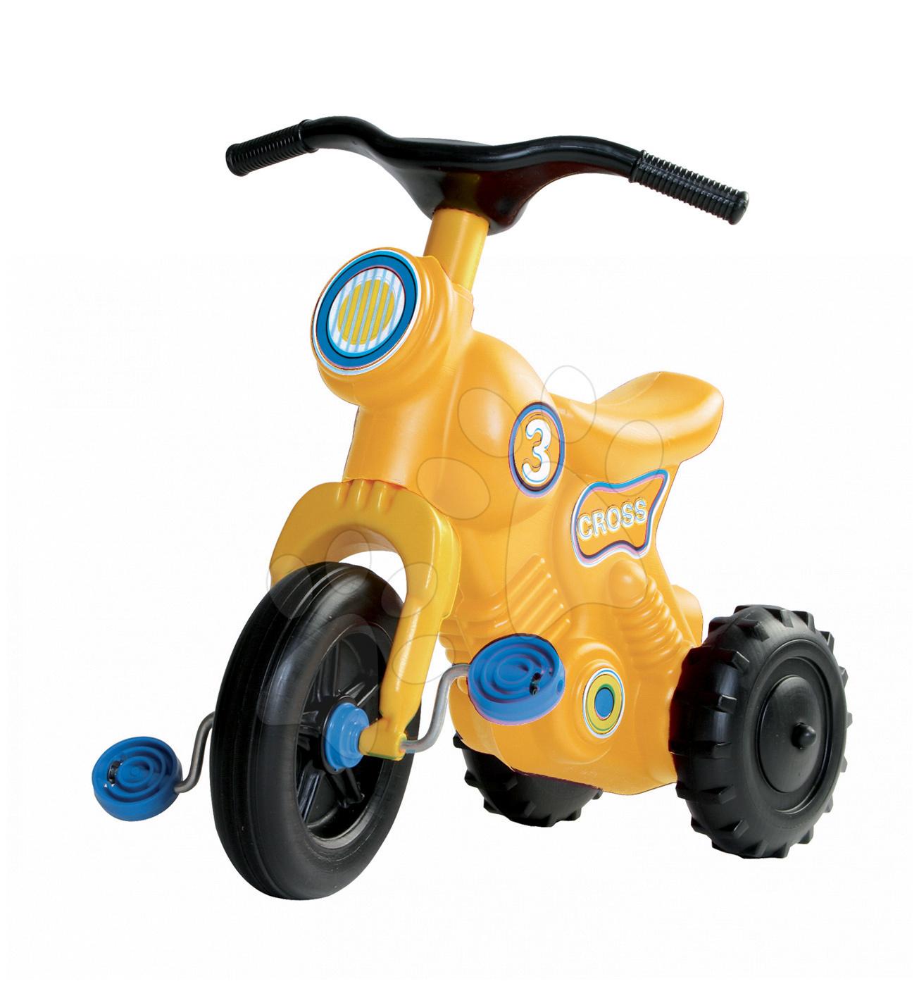Odrážedlo s pedály Cross 3 Motorbike Dohány žluté