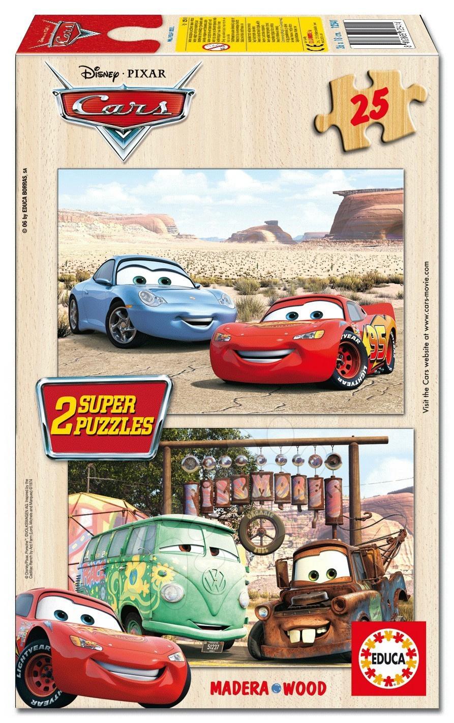 Disney puzzle dřevěné Cars Educa 2 x 25 dílů