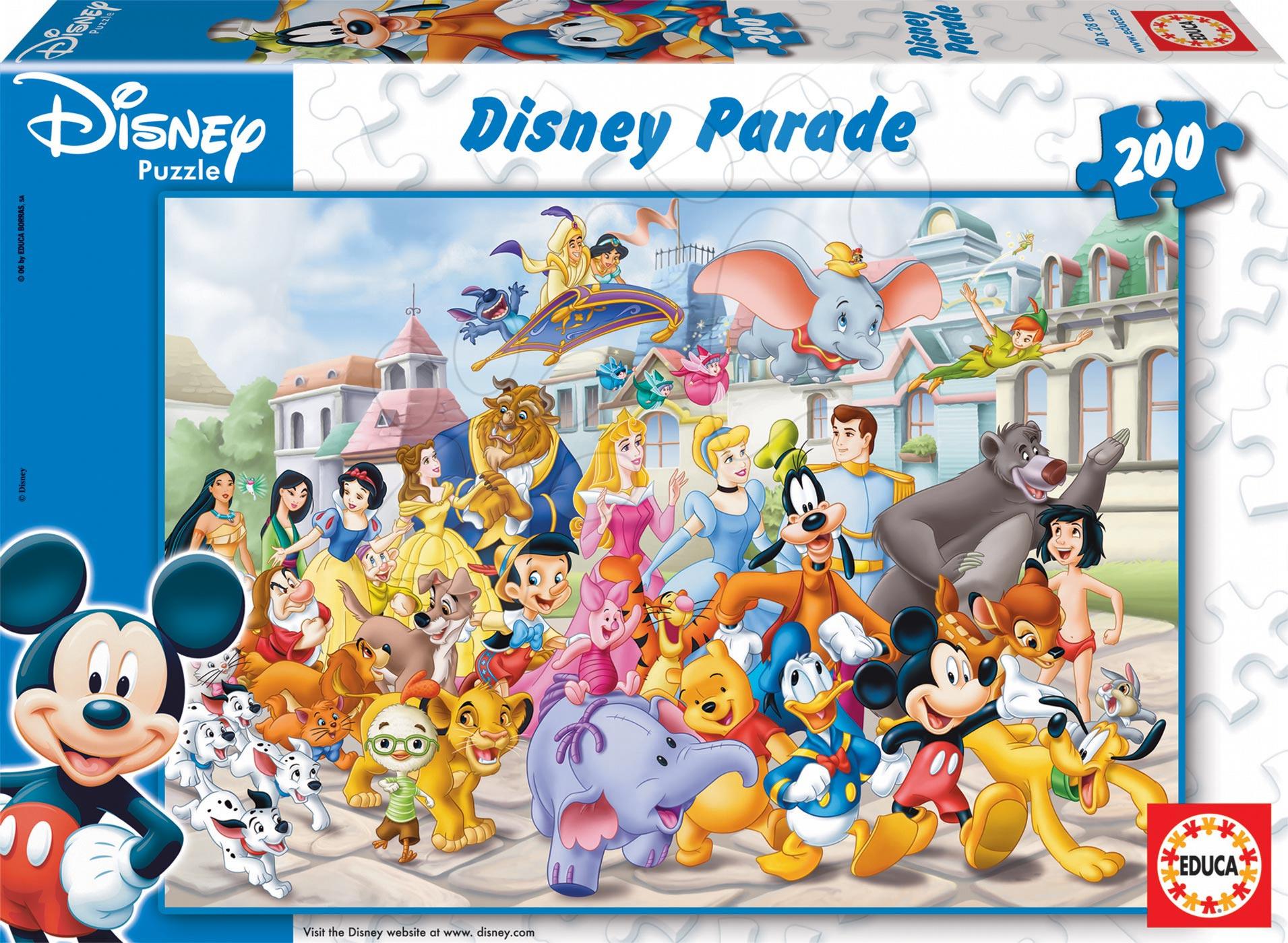 Dětské puzzle od 100–300 dílků - Puzzle Disney Průvod Educa 200 dílů od 6 let
