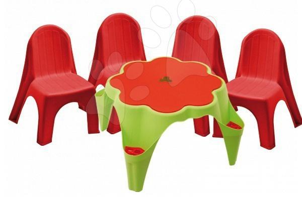 Detský záhradný nábytok - Stôl na hranie Starplast zelený s krytom kvetinka s 2 stoličkami od 24 mes