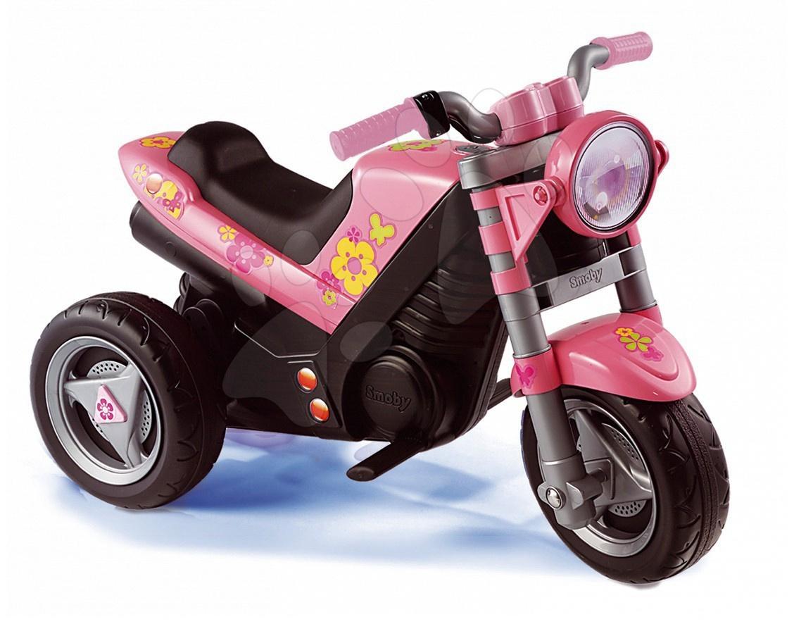 Produse vechi - Motocicletă Roadster Fille Smoby roz cu baterii de la 24 luni