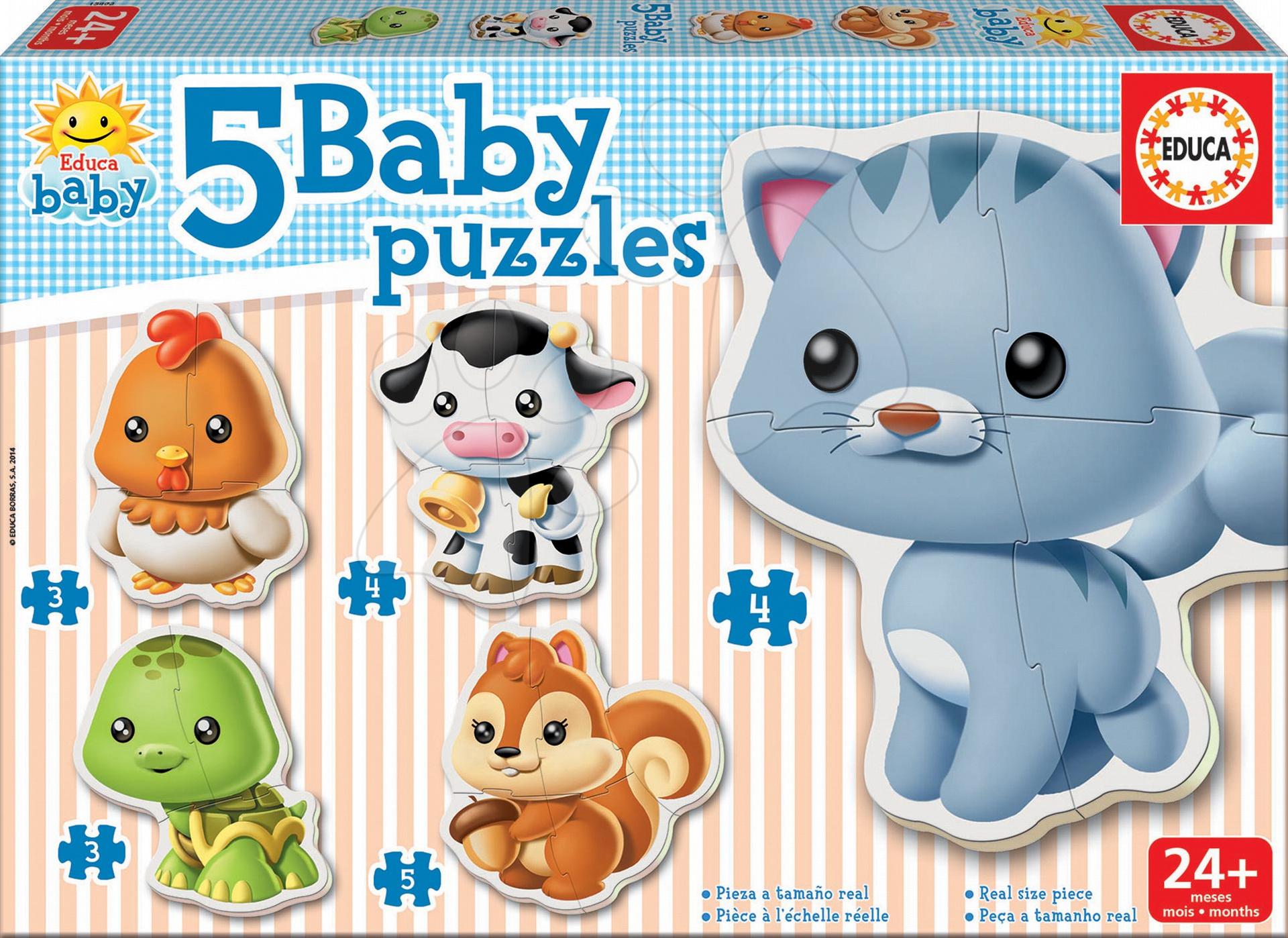 Bébi puzzle - Bébi puzzle Állatkák cicussal Educa 5 fajta képpel 24 hó-tól
