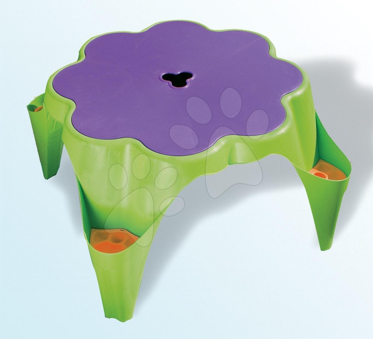 Stůl na hraní s krytem ve tvaru kytičky Starplast zeleno-fialový