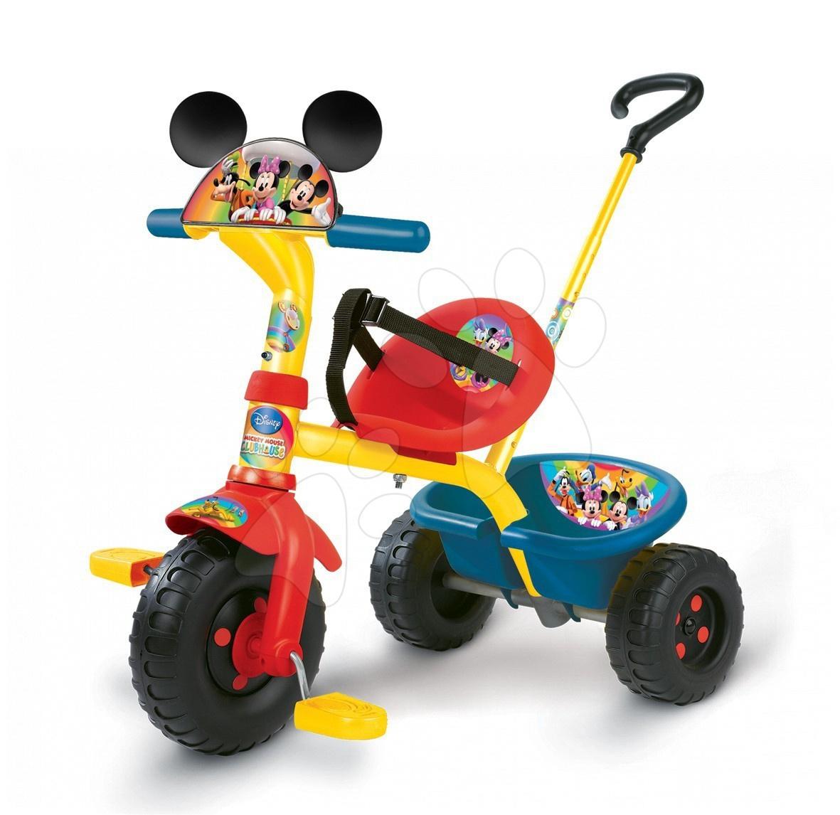 Tříkolka Be Fun Mickey Smoby s vodicí tyčí