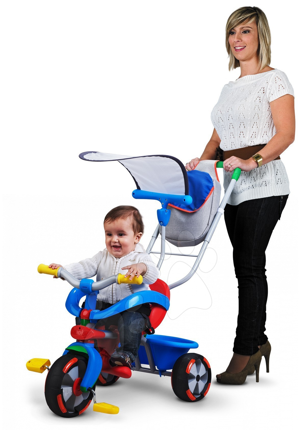 Tříkolka Baby Driver Confort MIXTE Smoby vodcí tyč od 10 měsíců