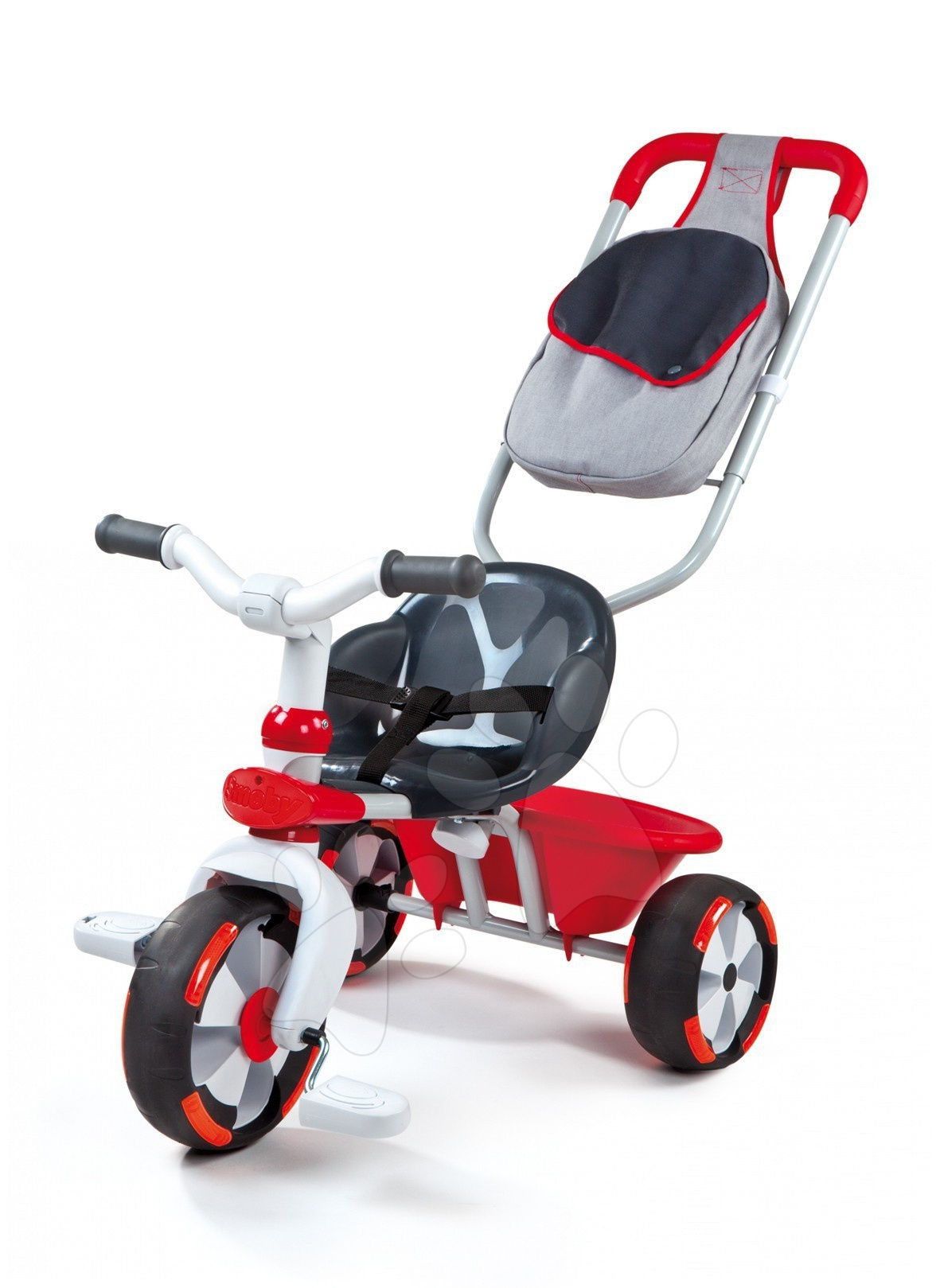 Stari vnosi - Smoby 434111 TRICIKEL Baby Driver červená, vodiaca tyč ovláda predné koleso, 70*50*52 cm od 12 mes
