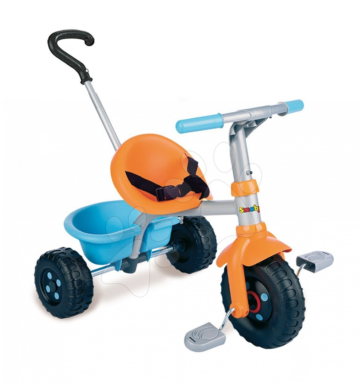 Smoby 444215 Tricikel Be Fun oranžovo-modrá s vodiacou tyčou 71*50*55 cm od 15 mes