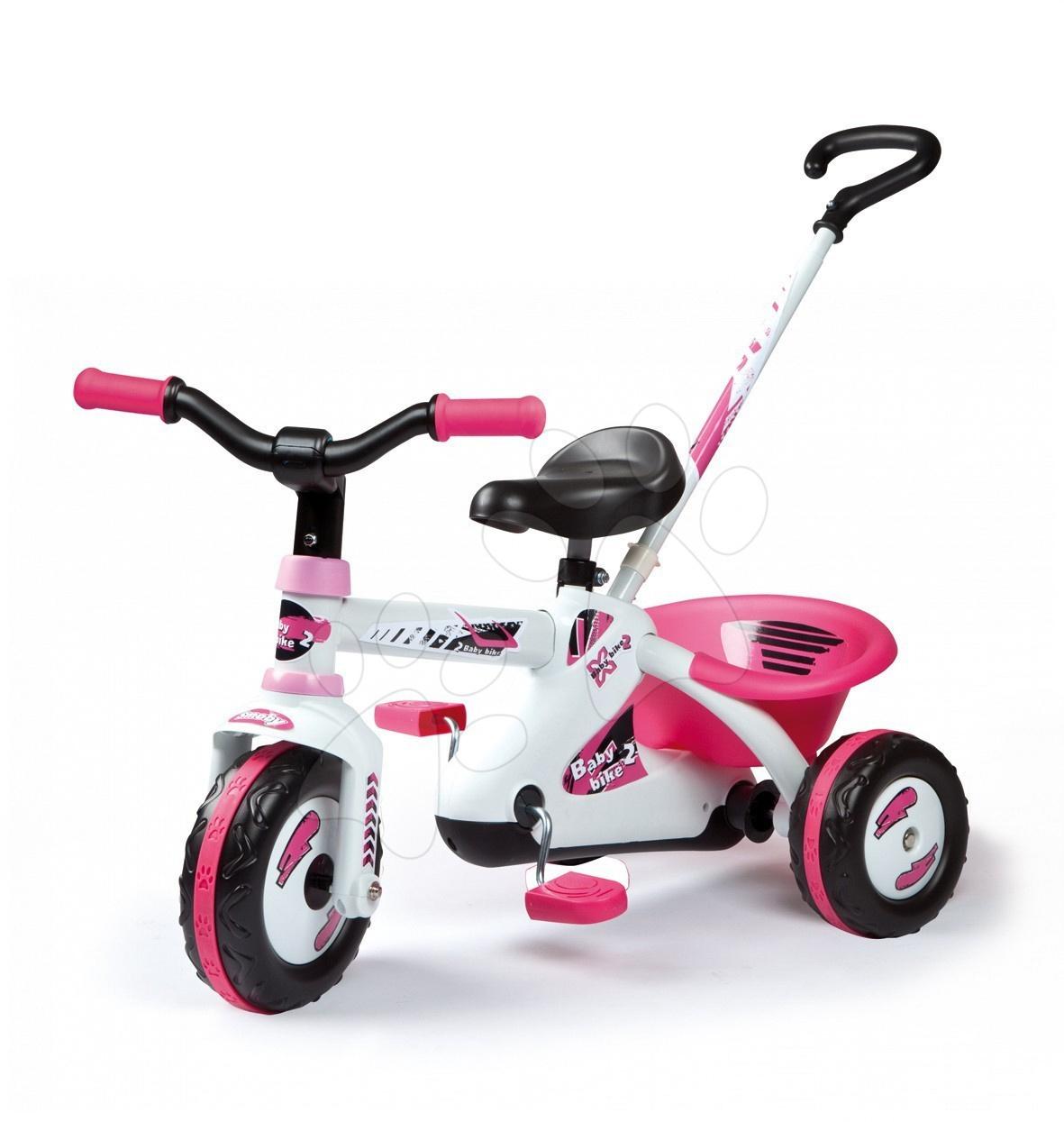 Stari vnosi - Smoby 435013 FIRST BIKE Sport Line Fille rožnata trojkolka s reťazovým pohonom a s tyčou 74*48*51 cm od 15 mes
