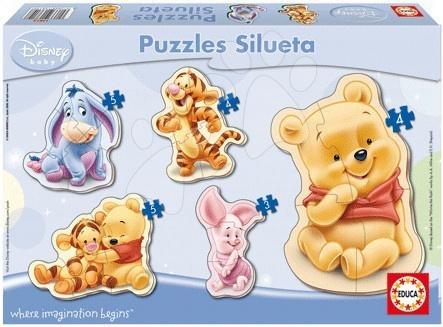 Disney puzzle Baby Medvídek Pú a přátelé Educa silueta 5 ks dřevěné