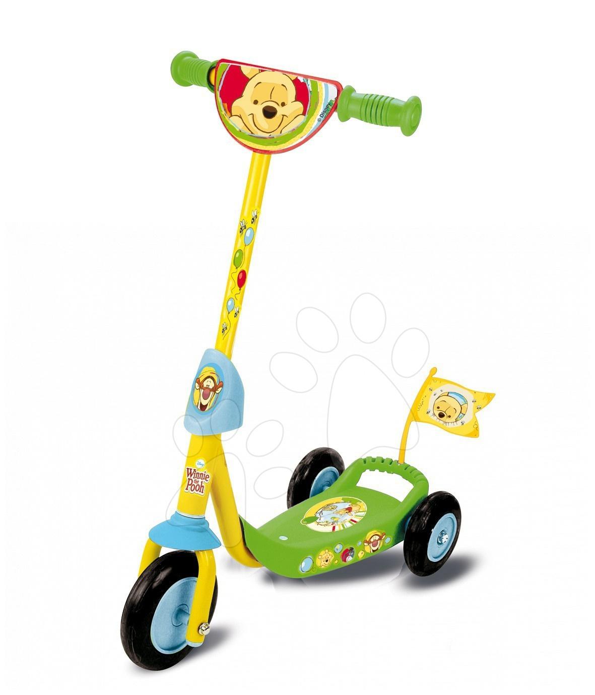 Roller Micimackó Smoby háromkerekű, sárga-zöld