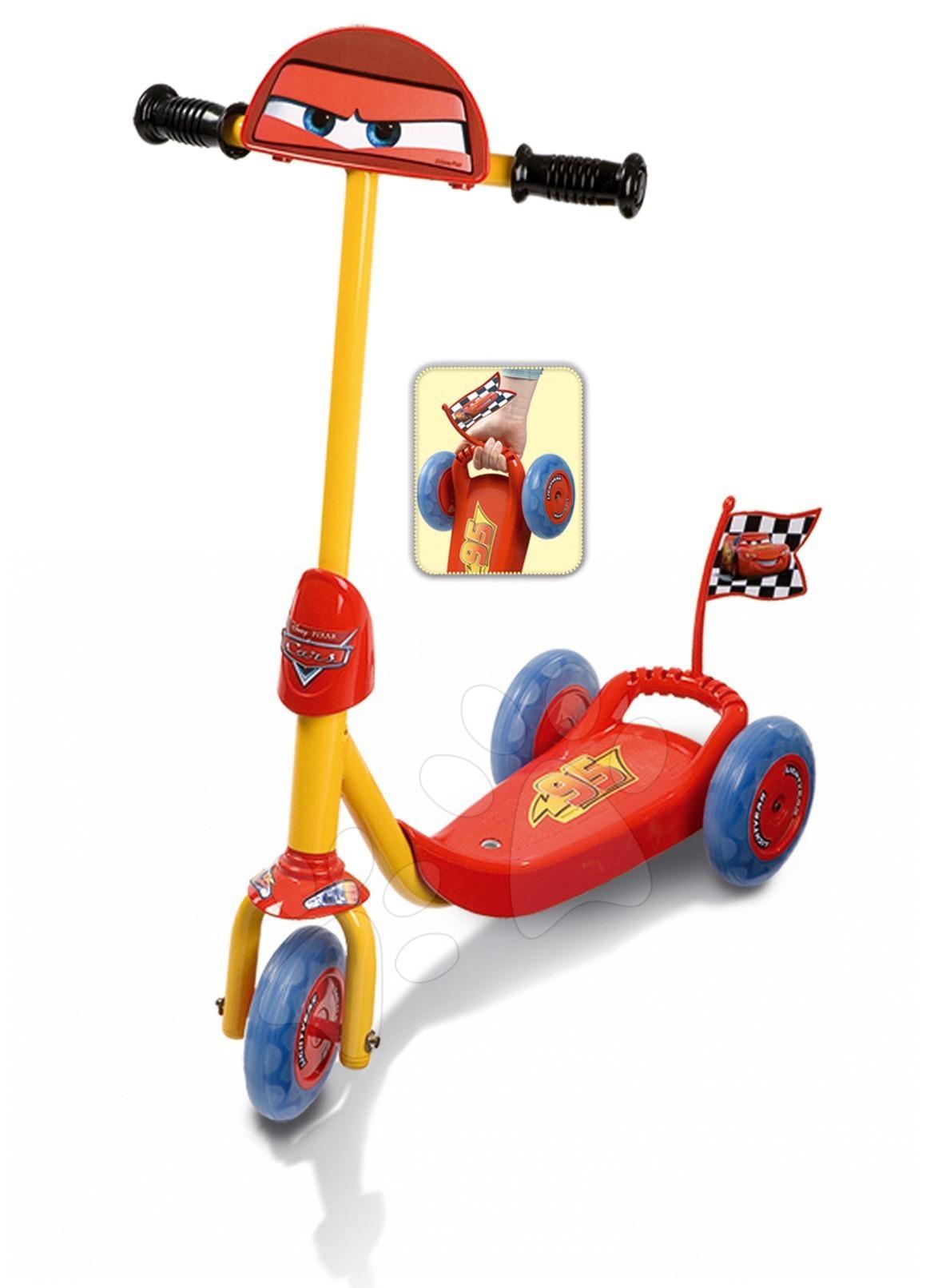 Koloběžka tříkolová Cars Smoby červeno-žluto-modrá