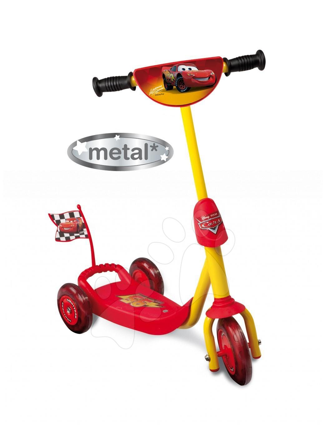 Koloběžka Cars Smoby tříkolová červeno-žlutá